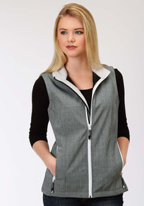 Roper Outerwear- Ladies Outer Womens Vest 1393 Grey Textured Print Vest