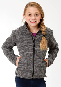 Roper Outerwear- Girls Outer Girls Jacket 3949 Cationic Bl Wh Micro Fleece