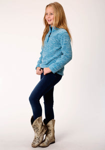 Roper Outerwear- Girls Outer Girls Jacket 00511 Teal Fleece 34 Slv Pull Over