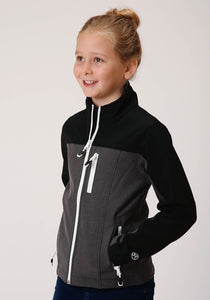 Roper Outerwear- Girl's Outer Girls Jacket 00436 Solid Black Heathered Gy Jckt