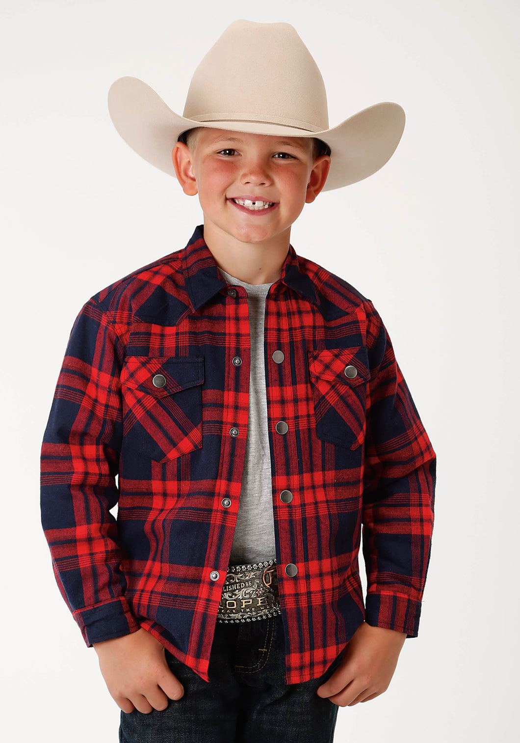Outer Boys Jacket 1502 Red Plaid Flannel Shirt Jacket