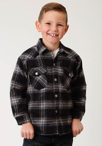 Outer Boys Jacket Flannel Shirt Jkt Quilted Lined