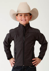 Roper Outerwear- Boys Outer Boys Jacket Bonded Softshell Jckt - Charcoal Grid