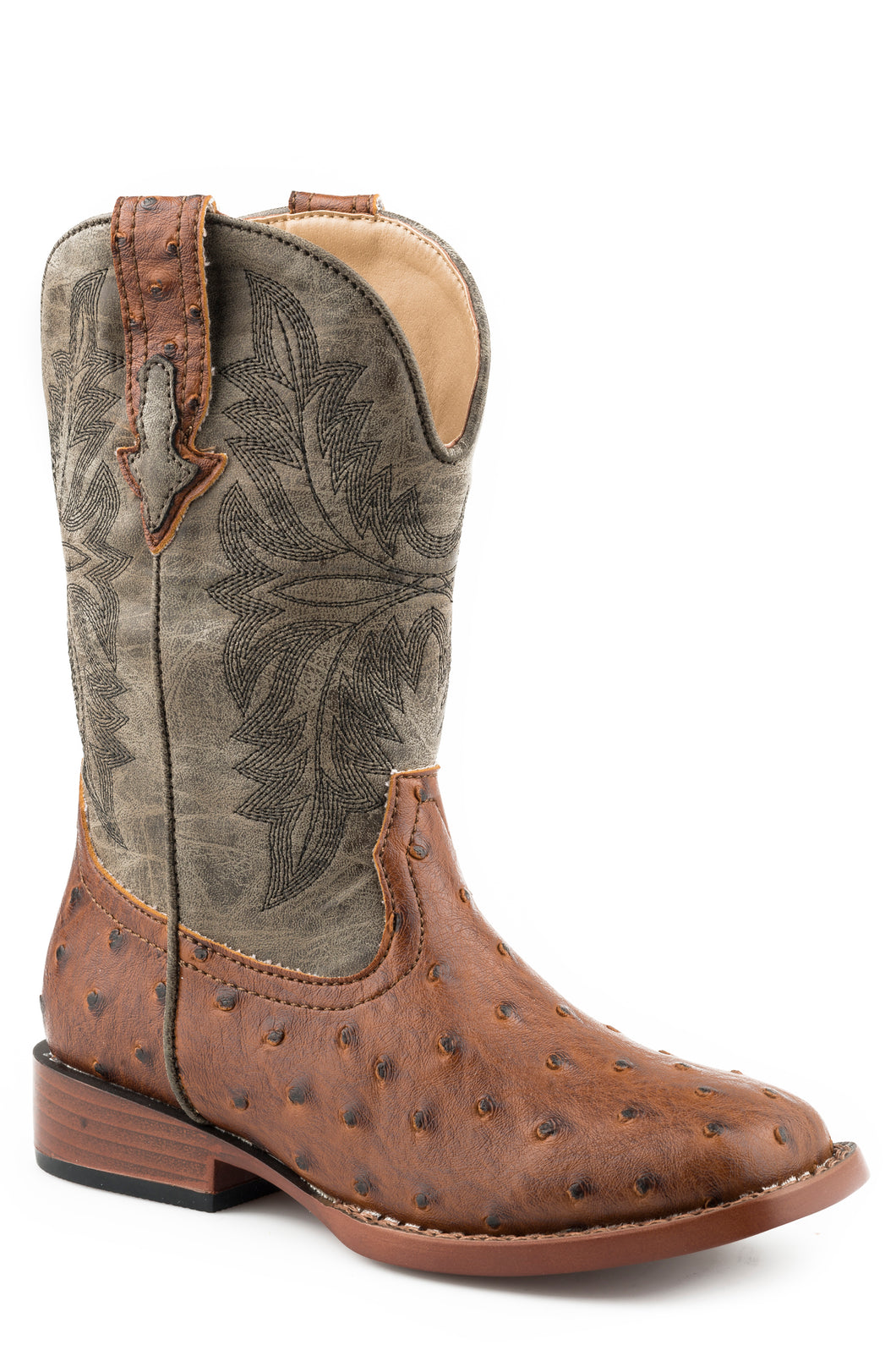 Bumps Boot Toddlers Boots Tan Faux Ostrich Vamp Boot