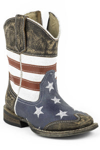 American Boot Infant Boot American Flag Wsanded Leather Sq.toe