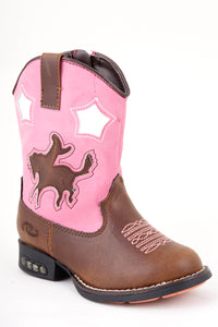 Star Rider Boot Infant Boots Brown W Pink Shaft - Lights In Heel