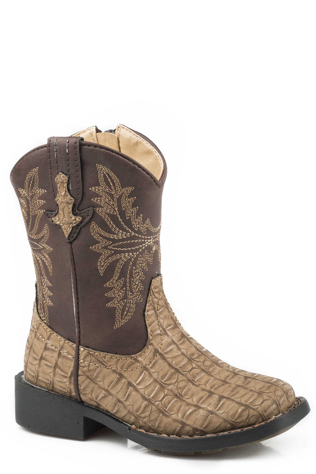 Chomp Boot Toddlers Boots Tan Embossed Caiman Vamp