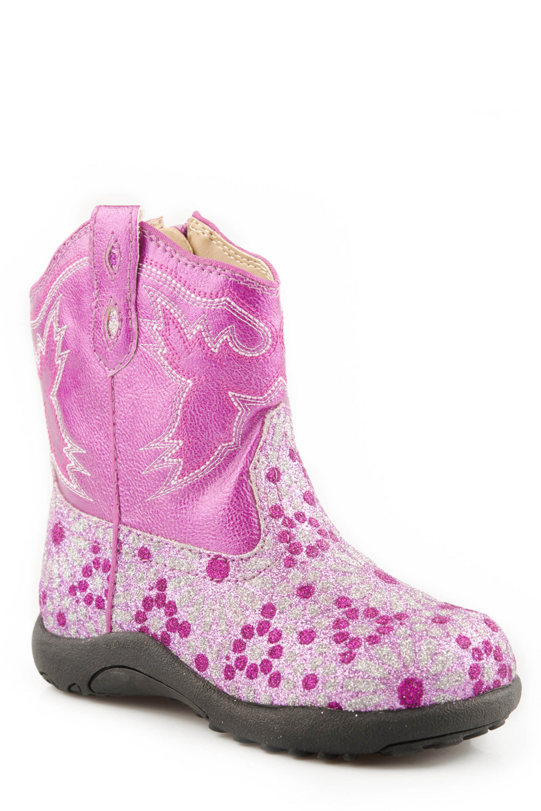Glitter Flower Power Boot Infant Boots Chunk 2 Faux Leather Shaft With Pink