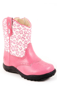 Saddle Up Glitter Boot Infant Boot Pink Glitter Animal Print Fashion Boot