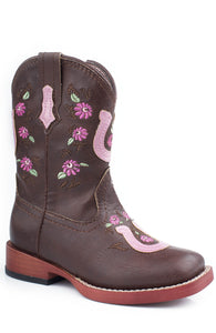 Lucky U Boot Infant Boot Floral Embroideryhorseshoe Overlay
