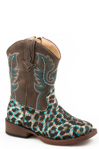 Glitter Leopard Boot Toddlers Boots Brown Shaft With Leopard Print Vamp