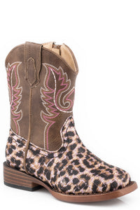 Glitter Leopard Boot Toddlers Boots Tan Shaft With Leopard Print Vamp