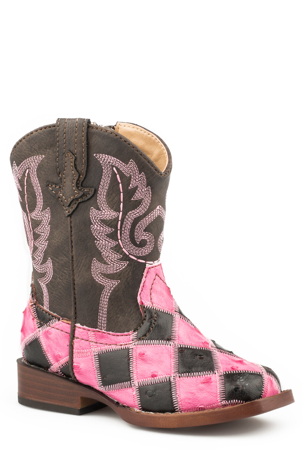 Bird Blocks Boot Toddlers Boots Pinkbrown Patchwork Faux Ostrich Vamp