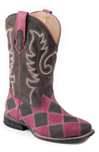 Patches Boot Little Kids Boot Square Toe With Patchwork On Vamp