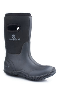 "Barnyard Black Boot Kids Boot 10"" Barn Boot Wpull Hole On Shaft"