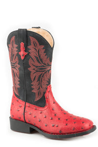 Cowboy Cool Boot Little Kids Boots Red Embossed Ostrich Vamp