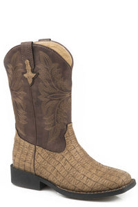 Chomp Boot Little Kids Boots Tan Embossed Caiman Vamp