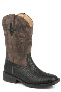 Chomp Boot Little Kids Boots Black Embossed Caiman Vamp