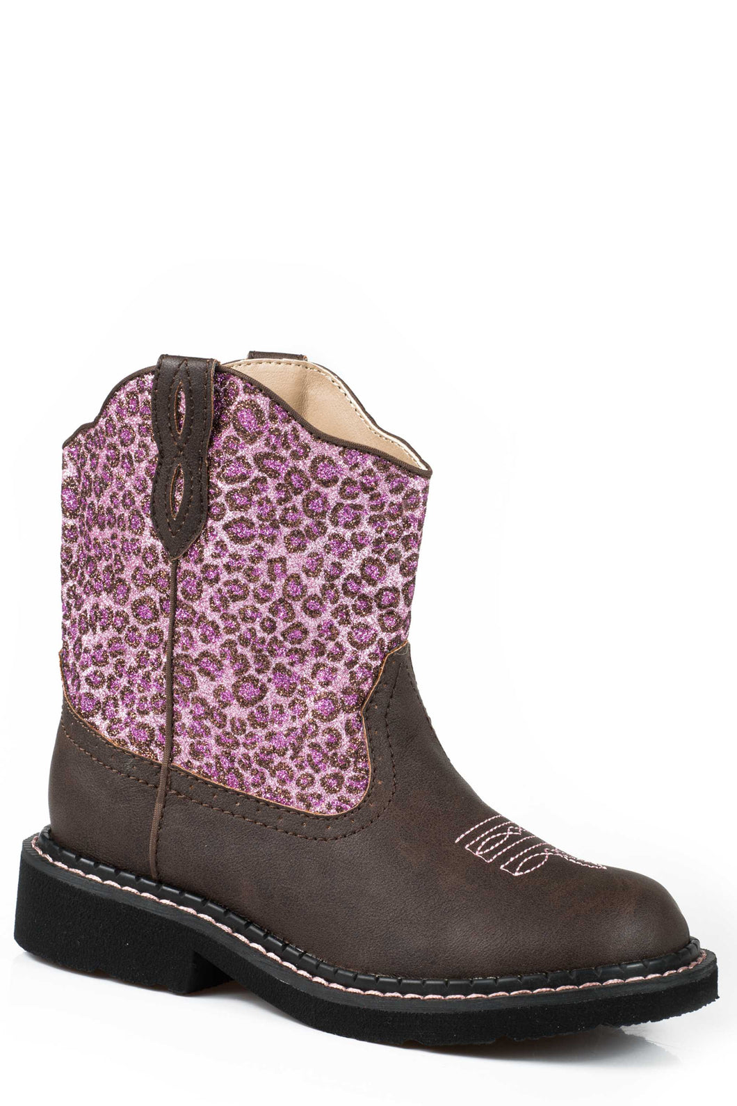 Cheetah Boot Kids Boot Brown Vamp Chunk With Pink Glitter