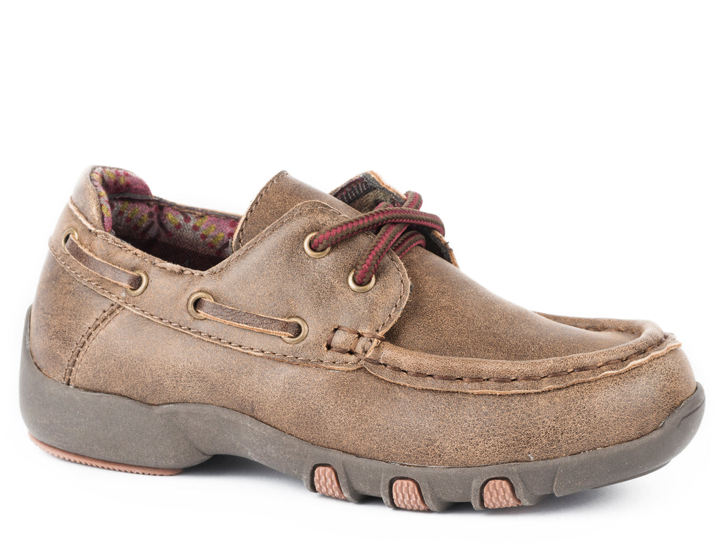 Lil Henry Casual Little Kids Casual Brown Vintage 2 Eyelet Rubber Sole