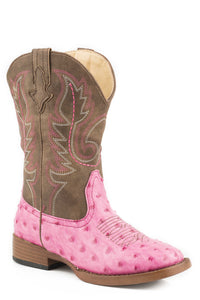 Annabelle Boot Kids Boot Pink Faux Ostrich W Brown Shaft