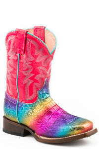 Ali Boot Little Kids Boots Rainbow Color Faux Caiman Sq Toe Vamp