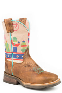 Colorful Cactus Boot Little Kids Boots Waxy Brown Leather