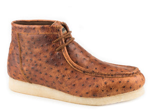 Gum Sticker Ostrich Casual Mens Casual Cognac Embossed Ostrich Leather