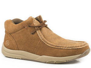Clearcut Casual Mens Shoes Tan Suede With Tan Canvas Vamp