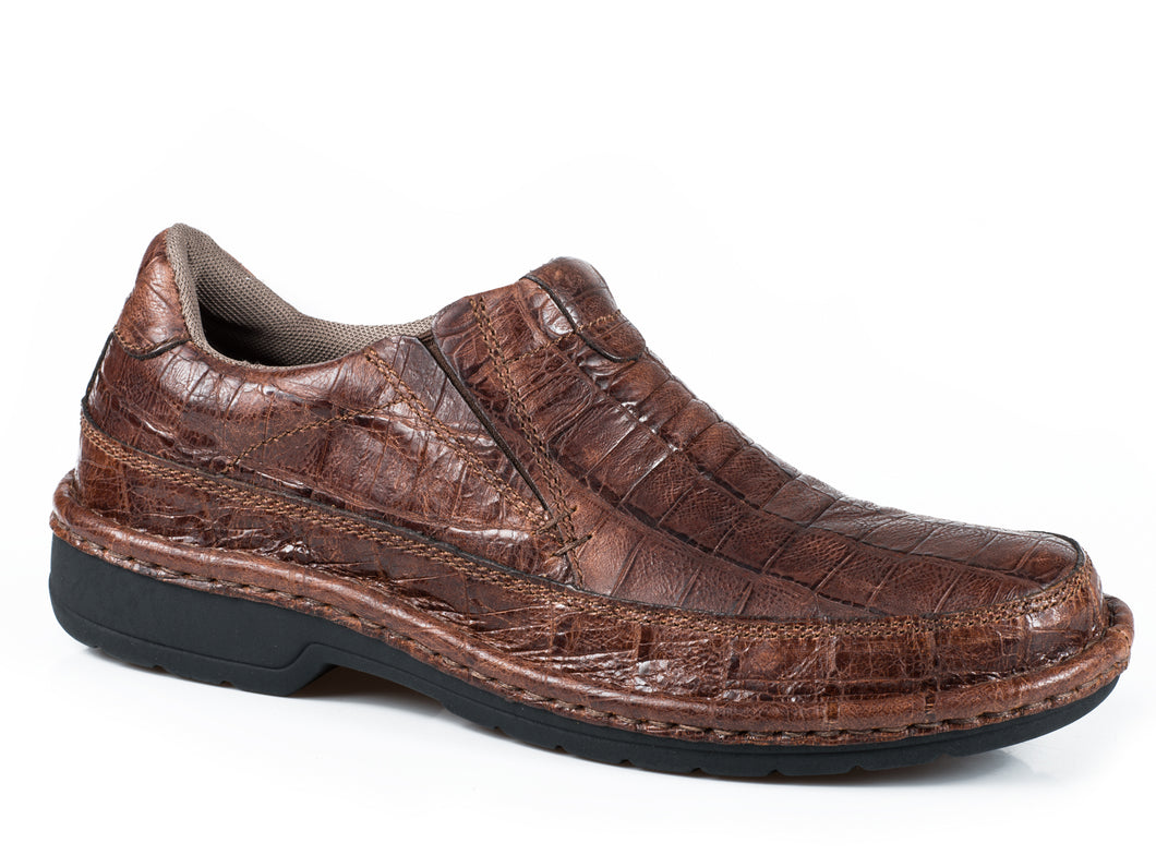 Powerhouse Croc Casual Mens Shoe Brown Croc Embossed Leather Opanke