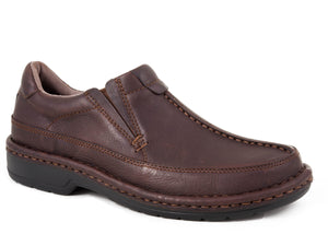 Scuttlebutt Casual Mens Shoe Brown Tumble Leather Comfort Slip On