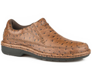 Pioneer Casual Mens Shoe Tan Faux Ostrich Leather Upper