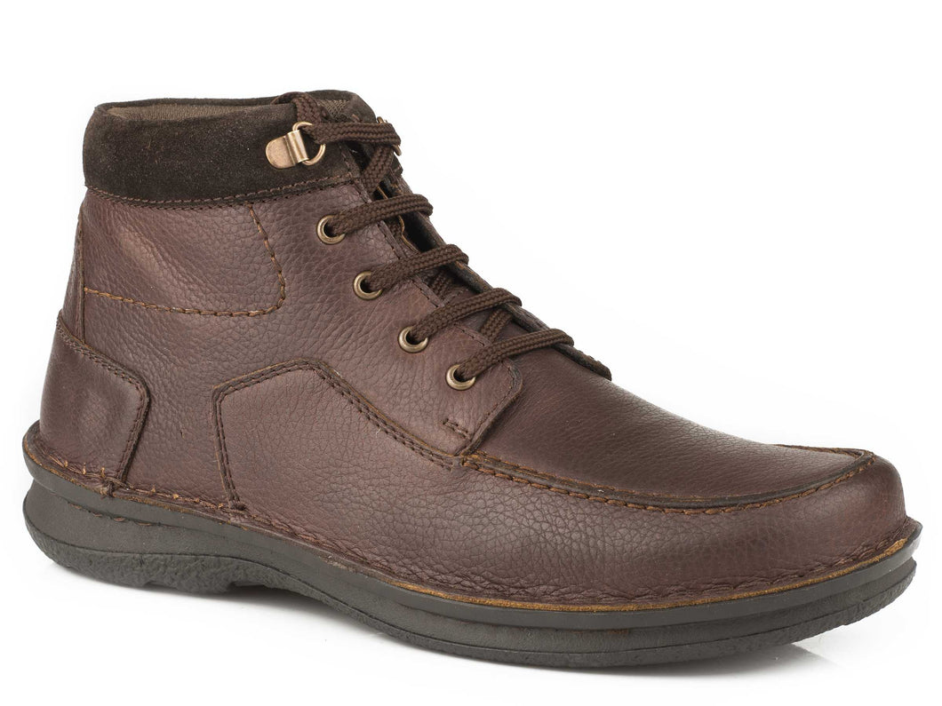 Trevor Casual Mens Shoe Tumbled Bay Brown Suede Collar