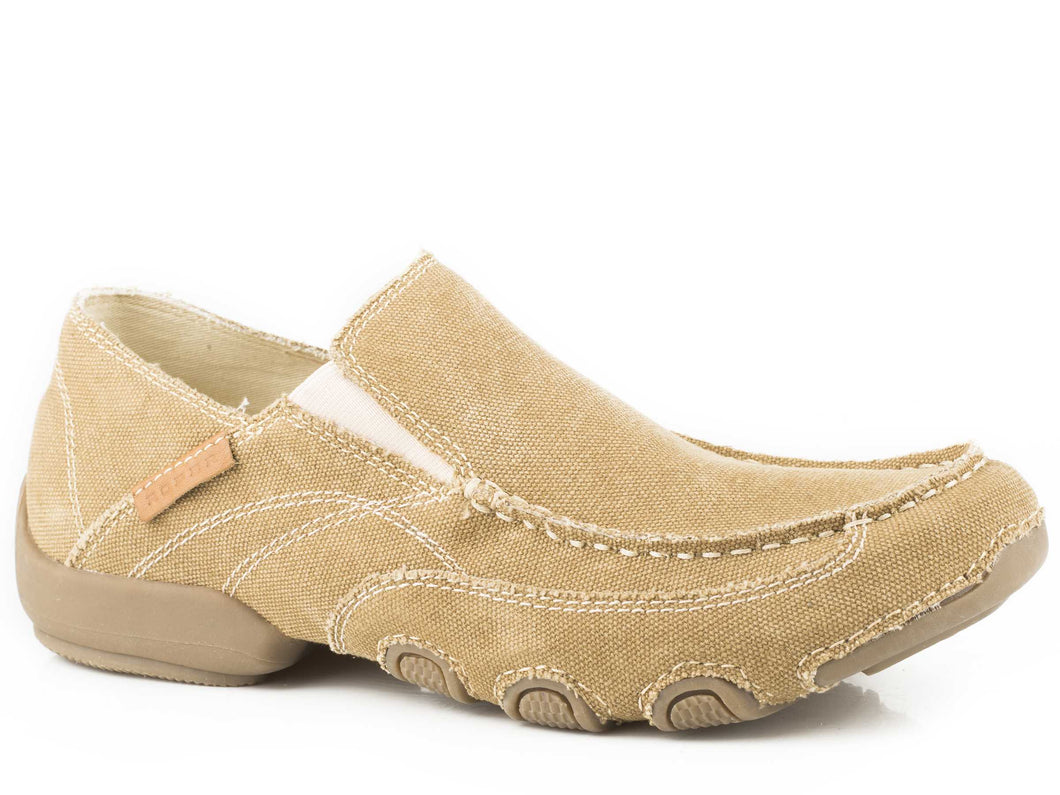 Dougie Casual Mens Shoe All Over Golden Tan Canvas
