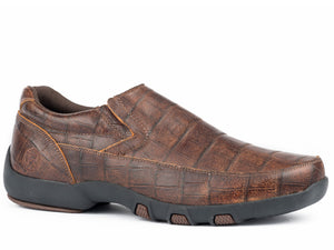 Owen Casual Mens Shoe Distressed Brown Embossed Caiman