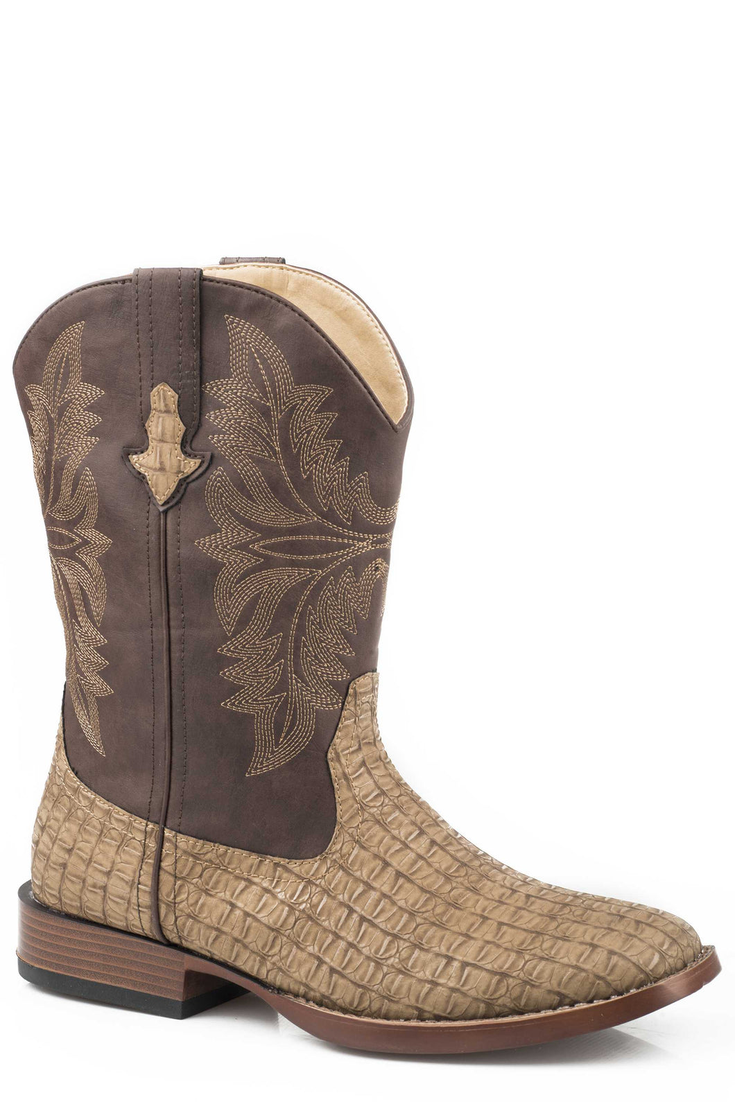 Chomp Boot Mens Boots Tan Embossed Caiman Vamp