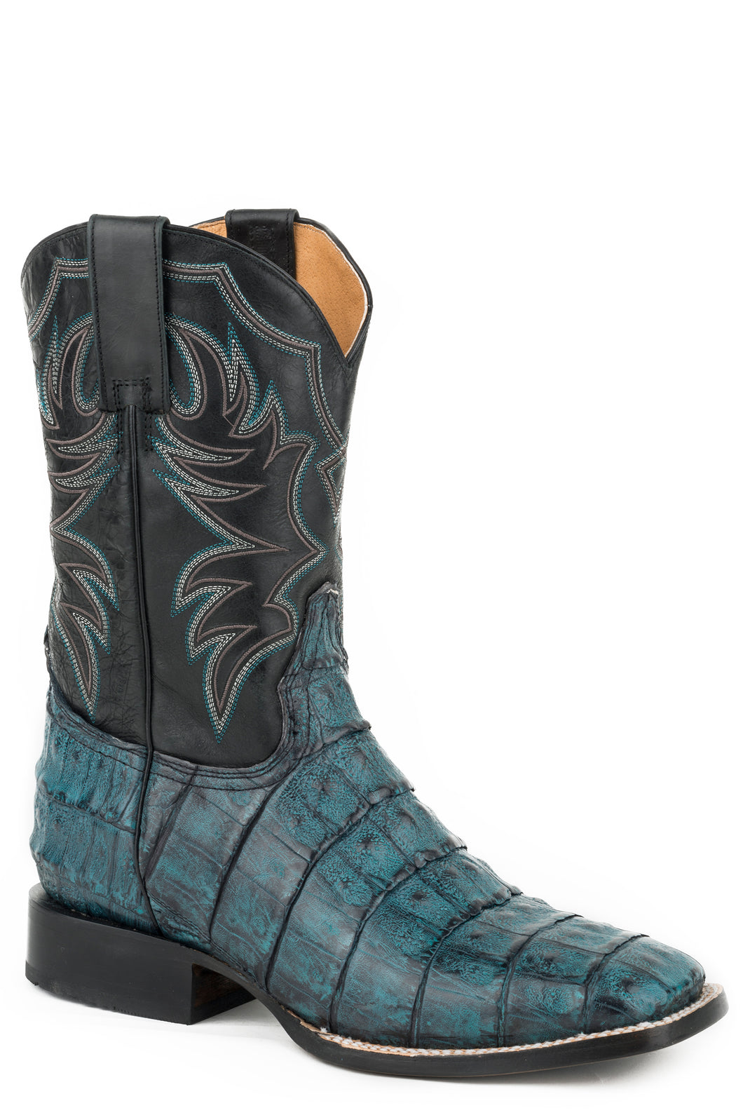 All In Boot Mens Boots Blue Brushoff Belly Tail Caiman Vamp
