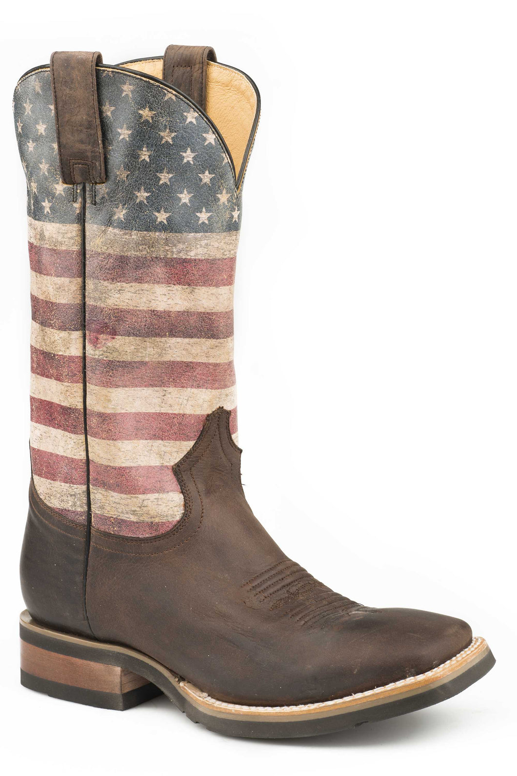 American Patriot Americana Mens Boots Oiled Brown Leather Vamp
