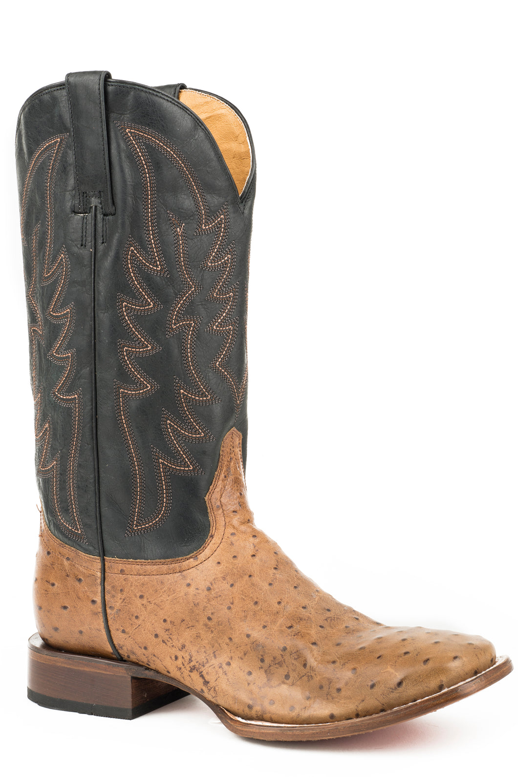 Samuel Boot Mens Boots Burnished Tan Embossed Ostrich