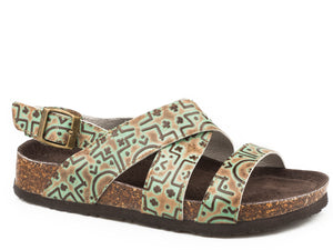 Stella Sandal Womens Shoes Turquoise Embossed Tribal Leather