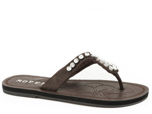 Ada Sandal Womens Sandals Brown Strap With Clear Crystals