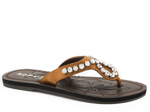Ada Sandal Womens Shoes Tan Strap With Clear Crystals