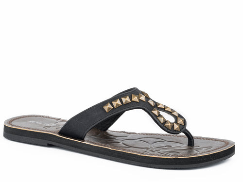 Ada Sandal Womens Shoe Black Strap With Antique Brass Studs