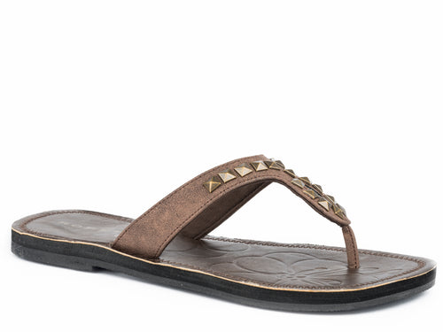Ada Sandal Womens Shoe Tan Strap With Antique Brass Studs