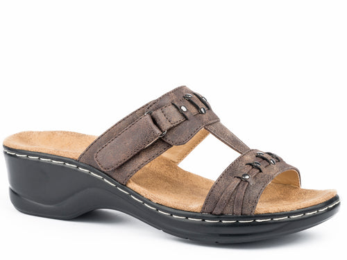Hope Sandal Womens Shoe Brown 2 Strap With Fashion Trimming