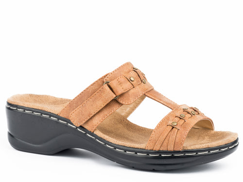 Hope Sandal Womens Shoe Tan 2 Strap With Fashion Trimming