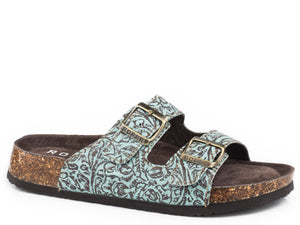 Jezebel Sandal Womens Sandals Brown Turquoise Embossed Leather