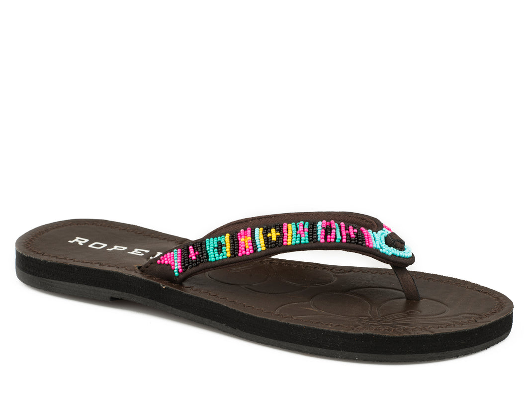 Cora Sandal Womens Sandals Pink Blue Black Beaded Strap