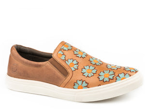 Mane Daisies Casual Womens Casual Burnished Tan W Tooled Flowers