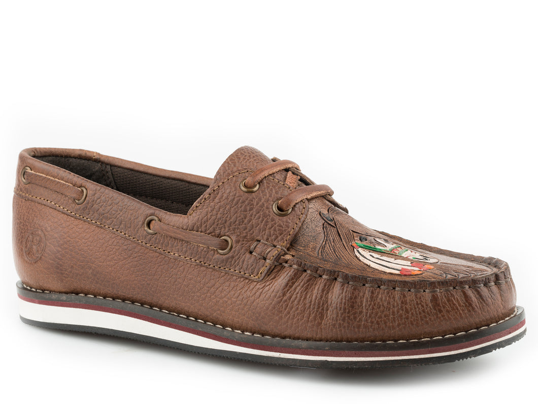 Filly Mocassin Womens Casual Burnished Brown Leather Moccasin